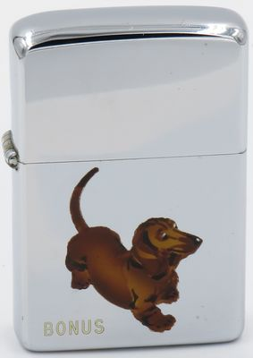 "1955 Town & Country Zippo with a Dachshund names ""Bonus"""