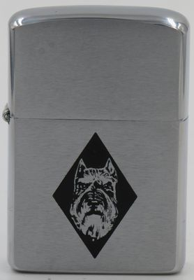 1958 Zippo with the image of a Schnauzer's head in a black diamond
