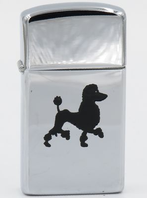 1960 slim Zippo with a black  poodle in relief
