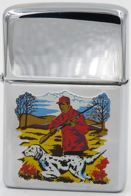 This pointer is depicted on a 1977 high-polish Zippo on a hunter-themed prototype for the Sports Series.