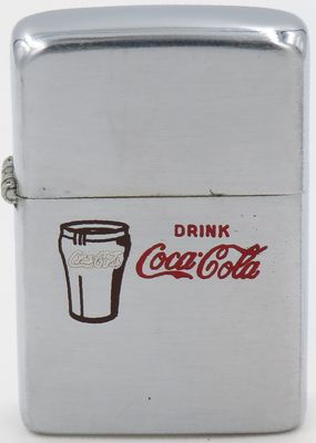 1949-51 Zippo with Drink Coca-Cola and image of a glass