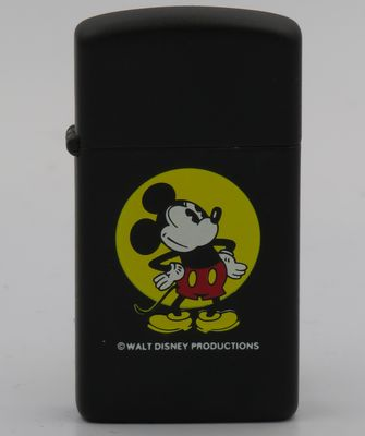 1983 prototype slim Zippo with large Mickey Mouse on matte black finish