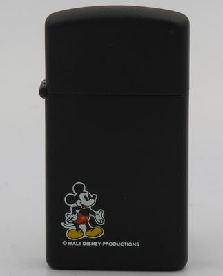 1983 prototype slim Zippo with a small Mickey Mouse on matte black finish