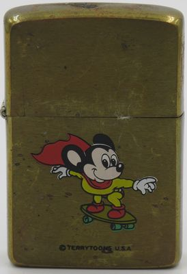 1982 Zippo with Mighty Mouse on skate board