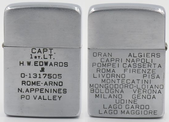 """This 1938 Zippo is engraved with """"Capt. 1st Lt. H W Edwards and serial number; Rome, Arno, N. Appenines, and Po Valley"""".""""Oran, Algiers, Capri, Napoli, Pompei, Casserta, Roma,Firenze, Livorno, Pisa, Montecatini, Mongodoro-Loiano, Bologna, Verona, Milano, Genoa, Udine, Lago Gardo, Lago Maggiore"""" was engraved on the reverse. This lighter also has a one-of-a kind test model insert. Harry William (Bill) Edwards was the superintendent at the Congress Street Zippo Manufacturing Plant.Mr. Edwards was employed by the Zippo Manufacturing Company since 1938 until he left In 1942 to enter the Army. He was discharged with the rank of captain in 1946, at which time he returned to Zippo."""