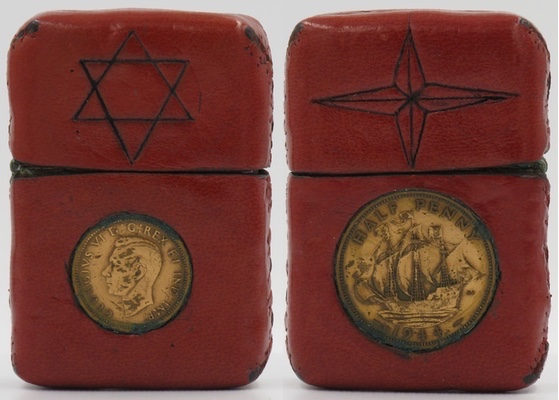This Zippo has been leather covered and stitched by hand. The front has an English penny and a hand-carved Star of David and the reverse has an English half-penny and four-point nautical star