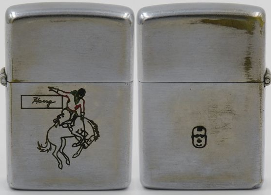 """1946-47 test-model Zippo with the bucking bronco design and """"Harry"""" (?) on the front. The reverse has a tiny engraving of the likeness of Oliver of Oliver Hardy. He was an American comic actor and one half of Laurel and Hardy, the double act that began in the era of silent films and lasted 25 years, from 1927 to 1951"""