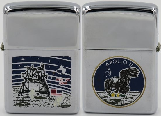 This two-sided Zippo from 1969 has a graphic of the moon landing on the front and the Apollo 11 insignia on the reverse. It is a rare Zippo