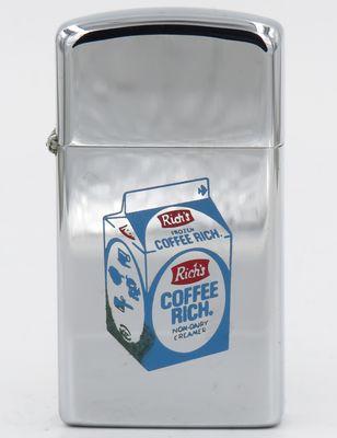 1974 slim Zippo advertising Coffee Rich, a milk and cream alternative