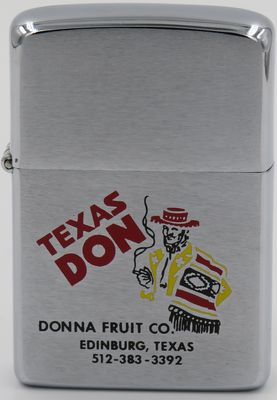 "1981 Zippo with a graphic of ""Texas Don"", a man with a hat and poncho smoking a cigarette. It is a brand used by Donna Fruit Co in Edinburg Texas"