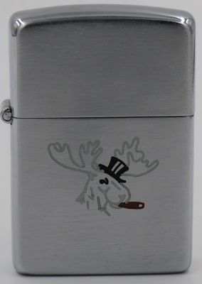 1946-47 Zippo by Dale Hutton with a line-drawn moose with top hat and cigar