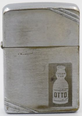 "Reverse engraved 1938-39 Zippo advertising ""Otto Cream Top"" milk bottle for the Otto Milk Company of Pittsburgh Pennsylvania"