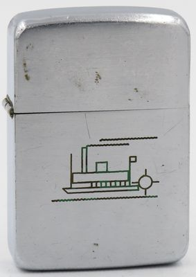 Line-drawn paddle-wheel boat on 1937 Zippo lighter. This rare lighter has one of the earliest nautical themes engraved on a Zippo