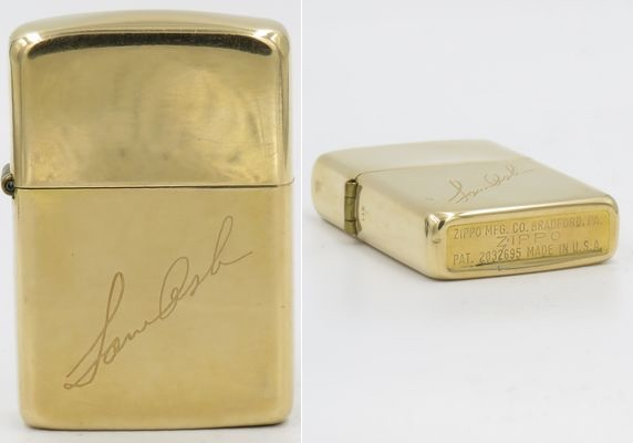 "Solid 14K gold Zippo engraved for ""Sam Ash"". Pat. 2032695 with 3 barrel hinge"