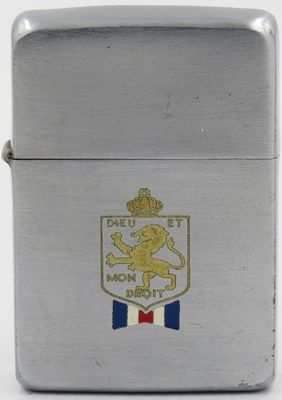 """1941 Zippo with an lion and crown engraved badge of the British War Relief Society (BWRS).""""Deu et Mon Droit""""meaning God and my right, is the motto of the Monarch of the United Kingdom outside Scotland"""