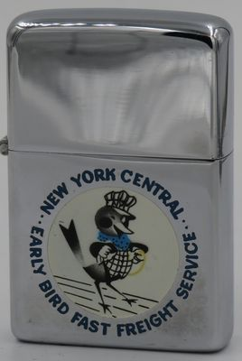 "1956 T&C Zippo with the New York Central Early Bird. ""Early Bird Fast Freight Service"""
