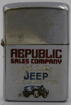 """1958 Zippo for Republic Sales Company """"High Quality Replacement Parts"""" and has a graphic of a Jeep"""