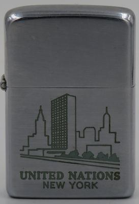 1960 Zippo with the graphic of the United Nations Building in Manhattan, New York. Completed in 1952,  it houses the General Assembly, the Security Council, and the administrative functions of the UN
