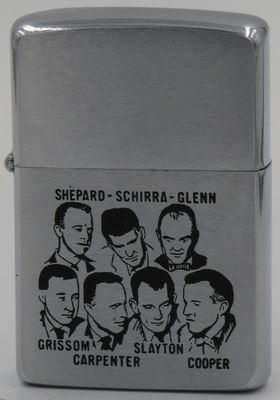 This 1962 Zippo depicts The Mercury Seven , the Mercury astronauts announced by NASA on April 9, 1959.They piloted the manned spaceflights of the Mercury program from May 1961 to May 1963. These seven original American astronauts were Scott Carpenter,Gordon Cooper,John Glenn,Gus Grissom,Wally Schirra,Alan Shepard, and Deke Slayton