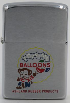"1962  Zippo with a graphic of a bear and balloons.  Balloons Ashland Rubber Products is based in Ashland Ohio and marketed rubber toys under the ""Toy Time"" brand"