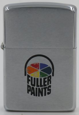 1964 Zippo with the Fuller Paints logo. Fuller Paint company distributed mirrors, paints, oils, window glass, brushes, varnishes, turpentine, glue, gold leaf, artists' materials, throughout the western United States