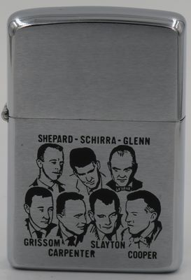 1967 Zippo depicting the Mercury astronauts. It is identical to the 1962 Zippo with the same image.