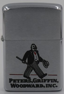 1969 Zippo with a graphic of a walking man in a business suit with a hat and a walking stick.  Peters, Griffin, Woodward, Inc. was a New York based advertising agency.