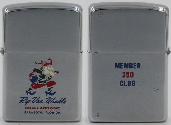 1970 Zippo with a colorful graphic of a bearded Rip Van Winkle for a bowling alley in Sarasota Florida.  The Rip Van Winkle Lanes opened in 1958 and closed its doors in 2004