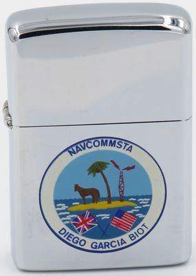 1975 Town & Country Zippo for Naval Communication Station at Diego Garcia, a British Indian Ocean.The US facilities on the island the strategic anchor for the U.S. defense presence in South Asia, the Middle East, and the Pacific Region