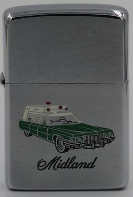 1976 Zippo with the engraving of a Cadillac ambulance for Midland