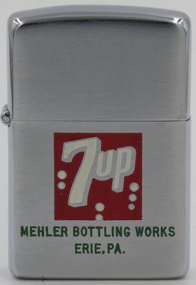 1978 Zippo with 7-Up logo advertising Mehler Bottling Works, Erie, PA