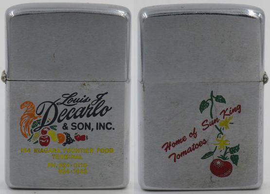 1978 Zippo with graphics of vegetables and sun king tomatoes advertising Louis J Decarlo & Son, Inc. which since the 1920s had been operating a wholesale fruit and vegetable business in Buffalo New York