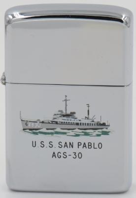 This 1960 T&C Zippo depicts USS San Pablo, a sea plane tender