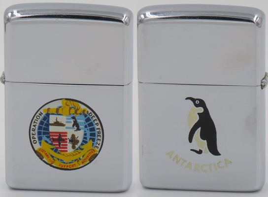1961 Town & Country Zippo with the logo for Operation Deep Freeze which was a series of exploratory missions to the Antarctica.  The reverse has a T&C graphic of a penguin