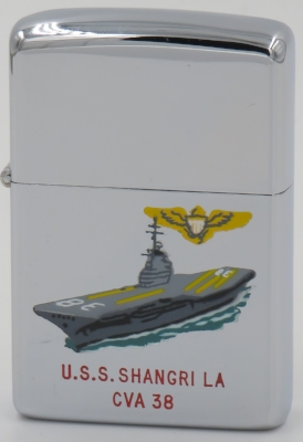 1965 Zippo. The carrier USS Shangri La was once commanded by Vice Adm. John S McCain, the father of John McCain, current senator and former Presidential candidate