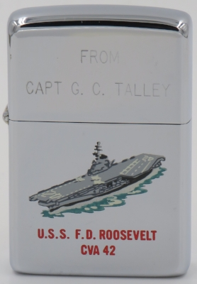 """1965 Zippo with a Town & Country hand-painted USS F. D. Roosevelt CVA 42 aircraft carrier. The engraved lid reads """"From Capt C.C. Talley"""