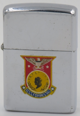 1966 T&C Zippo for USS Forrestal, a supercarrier named after the first Secretary of Defense James Forrestal