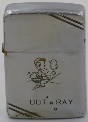 1940-41 Employee engraved Zippo with the graphic of a duck apparently engraving. Done by or for Dot and Ray