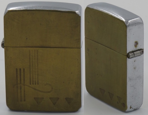 1940-41 Zippo prototype with designs on brass engraved on the front and back, the edges in chrome