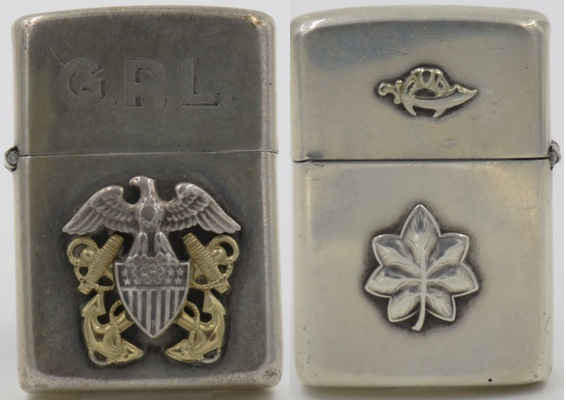 """This Zippo, engraved with the letters """"GPL"""" has a sterling silver Navy emblem attached on one side and an oak leaf cluster & fraternal logo on the other."""