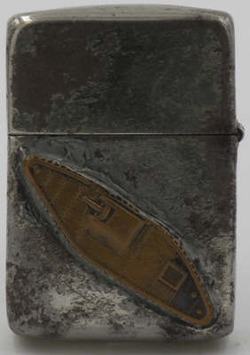 This WWII Zippo shows a World War I era tank, as seen from the side.