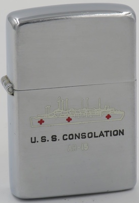 """1952-53 Zippo for USS Consolation (AH-15), a hospital ship that served the wounded during the Korean War and became the """"First Hospital Ship to Receive Casualties Directly by Helicopter"""""""