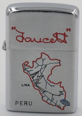 1960''s Clearcut lighter advertising Faucett depicting its routes on a map of Peru. Aviacion Faucett was a Peruvian airline founded by Elmer Faucett in 1928 which came to an end in 1999