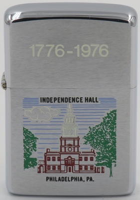1975 bicentennial Zippo 1776-1976 with a graphic of  Independence Hall in  Philadelphia PA