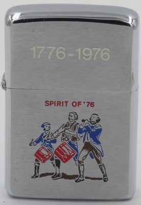 "1975 bicentennial Zippo with a depiction of the wounded patriots  from the ""Spirit of '76"" painting by Archibald MacNeal Willard"