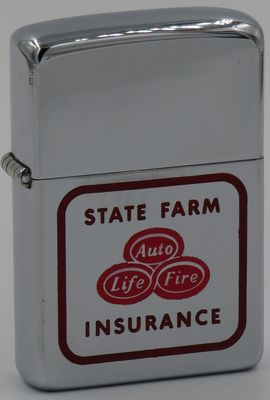 1957 T&C Zippo State Farm Insurance logo. The ovels in the center, Auto, Life and Fire, are hand-painted