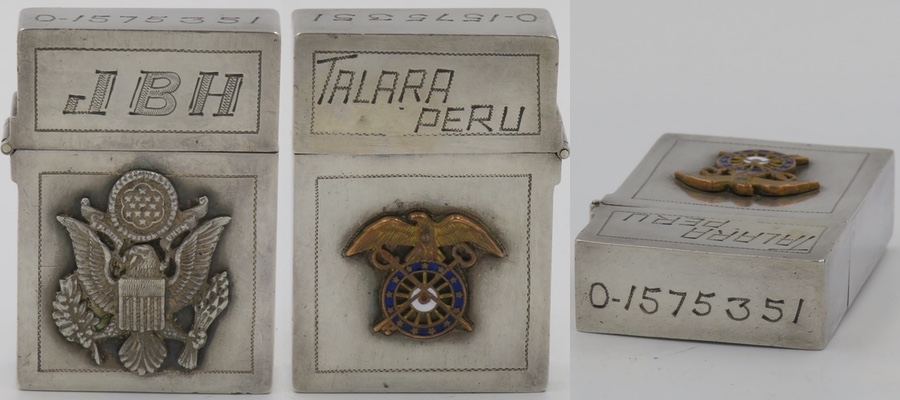 """1950's Unmarked Sterling lighter with the letters """"JBH"""" and an attached emblem of the United States on the front. The reverse reads """"Talara Peru"""" and has an emblem of the US Army Quartermaster Corps on the reverse. The top has an army officer serial number engraved."""