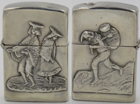 Sterling lighter made in Peru with image of dancing native Peruvians on the front, a Chasqui runner on the reverse
