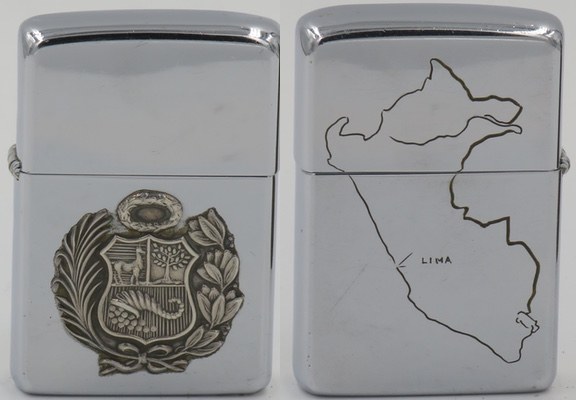 This two-sided 1960 Zippo with the Sterling silver coat of arms of Peru attached has a map engraved on the reverse