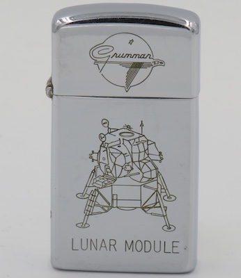 In 1962 Grumman Aircraft Engineering Corporation received a contract to design and build the lunar module which was ultimately used in the 1969 moon landing. The slim Zippo is dated 1966
